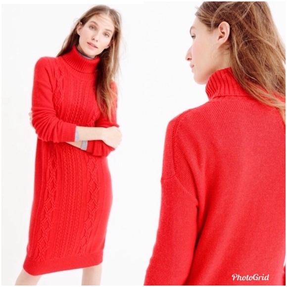 J. Crew Dresses & Skirts - J. Crew Cable Knit Turtleneck Sweater Dress Red XS